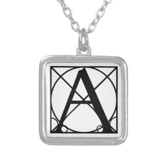 Typography Initial Square Pendant Necklace