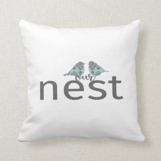"Typography ""Our Nest"" Gray & Blue Love Birds Cushion"