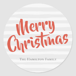 Typography Personalised Christmas Grey and Orange Classic Round Sticker