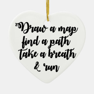 Typography Quote Life Travel Inspirational Gift Ceramic Heart Decoration