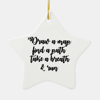 Typography Quote Life Travel Inspirational Gift Ceramic Star Decoration