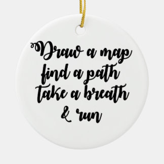 Typography Quote Life Travel Inspirational Gift Round Ceramic Decoration