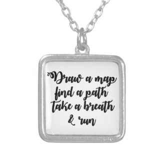 Typography Quote Life Travel Inspirational Gift Silver Plated Necklace