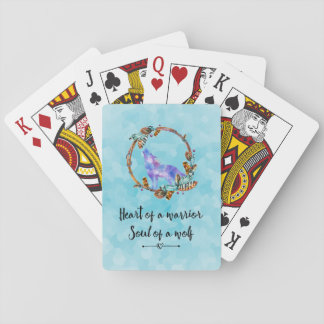 Typography Quote with a Watercolor Wolf Boho Styl Poker Deck