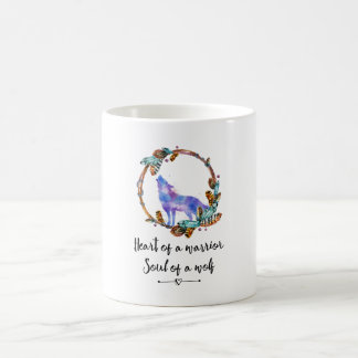 Typography Quote with a Watercolor Wolf Boho Style Coffee Mug