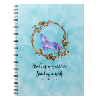 Typography Quote with a Watercolor Wolf Boho Style Notebooks