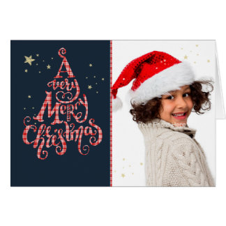Typography Red Plaid Merry Christmas Photo Card