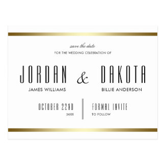 Typography | White & Gold Save The Date Photo Postcard