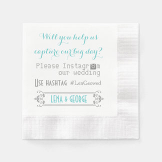 Typography with Instagram hashtag aqua wedding Disposable Napkins
