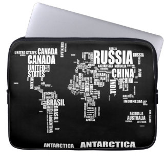 Typography World Map Computer Sleeves