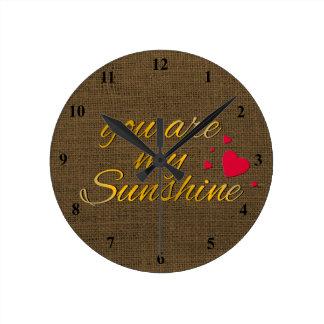 Typography You Are My Sunshine | Burlap Nursery Round Clock