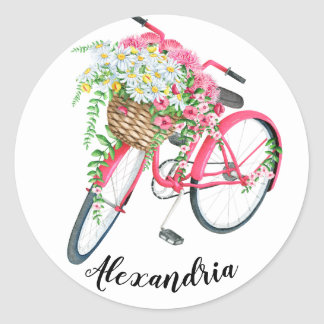 Typography Your Name Quote Vintage Bicycle Classic Round Sticker