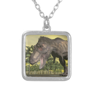 Tyrannosaurus angry - 3D render Silver Plated Necklace