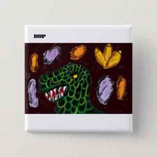 Tyrannosaurus art 15 cm square badge
