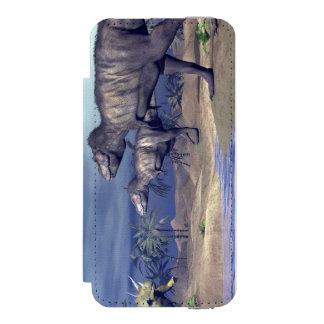 Tyrannosaurus attacking triceratops - 3D render Incipio Watson™ iPhone 5 Wallet Case