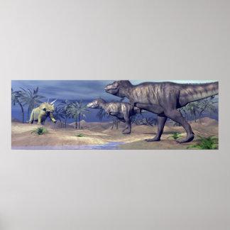 Tyrannosaurus attacking triceratops - 3D render Poster