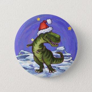 Tyrannosaurus Christmas 6 Cm Round Badge