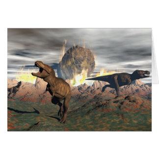 Tyrannosaurus dinosaur exctinction - 3D render Card
