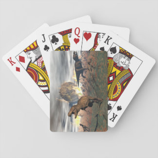 Tyrannosaurus dinosaur exctinction - 3D render Playing Cards