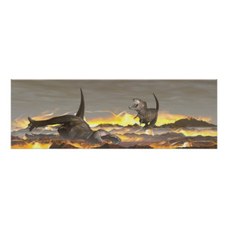 Tyrannosaurus dinosaurs exctinction - 3D render Poster