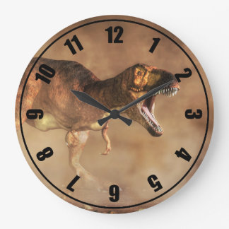 Tyrannosaurus in a Dust Storm Large Clock