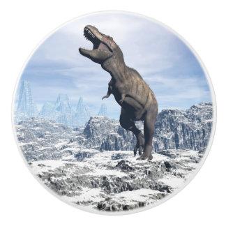 Tyrannosaurus in the snow - 3D render Ceramic Knob