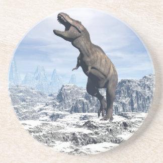 Tyrannosaurus in the snow - 3D render Coaster