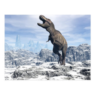 Tyrannosaurus in the snow - 3D render Postcard