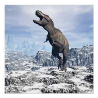 Tyrannosaurus in the snow - 3D render Poster