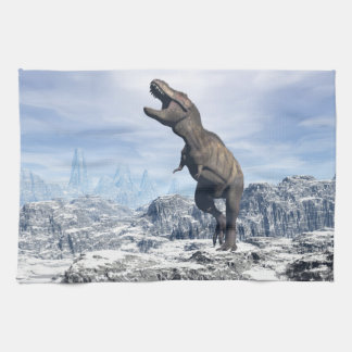 Tyrannosaurus in the snow - 3D render Tea Towel