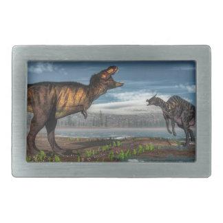 Tyrannosaurus rex and saurolophus dinosaurs belt buckle