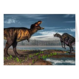 Tyrannosaurus rex and saurolophus dinosaurs card