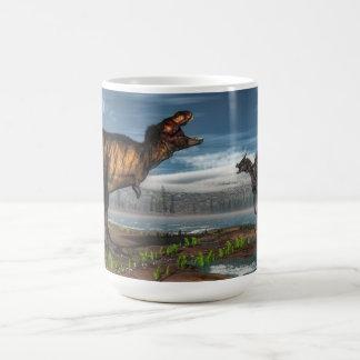 Tyrannosaurus rex and saurolophus dinosaurs coffee mug