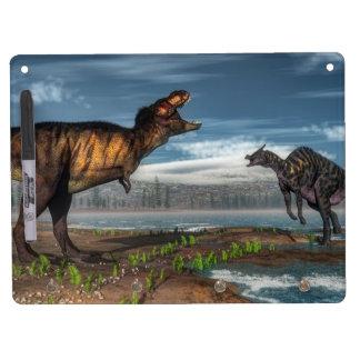 Tyrannosaurus rex and saurolophus dinosaurs dry erase board with key ring holder