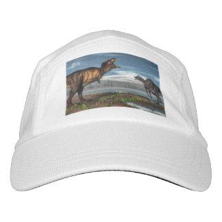Tyrannosaurus rex and saurolophus dinosaurs hat
