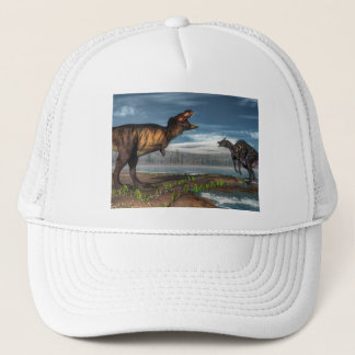 Tyrannosaurus rex and saurolophus dinosaurs trucker hat