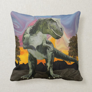 Tyrannosaurus Rex at the Twilight Hour Throw Pillow
