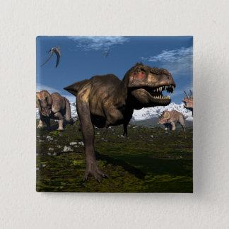 Tyrannosaurus rex attacked by triceratops dinosaur 15 cm square badge