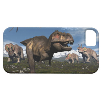 Tyrannosaurus rex attacked by triceratops dinosaur barely there iPhone 5 case