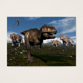 Tyrannosaurus rex attacked by triceratops dinosaur business card