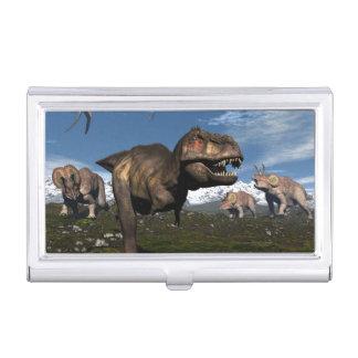 Tyrannosaurus rex attacked by triceratops dinosaur business card holder