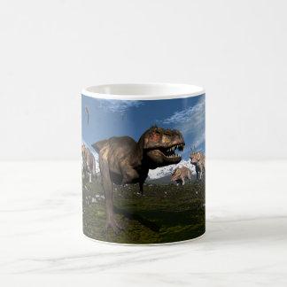Tyrannosaurus rex attacked by triceratops dinosaur coffee mug