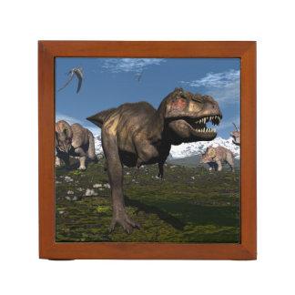 Tyrannosaurus rex attacked by triceratops dinosaur desk organiser