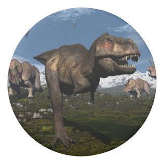 Tyrannosaurus rex attacked by triceratops dinosaur eraser
