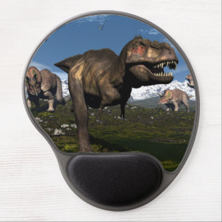 Tyrannosaurus rex attacked by triceratops dinosaur gel mouse pad