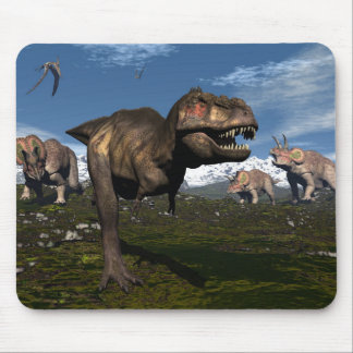 Tyrannosaurus rex attacked by triceratops dinosaur mouse pad