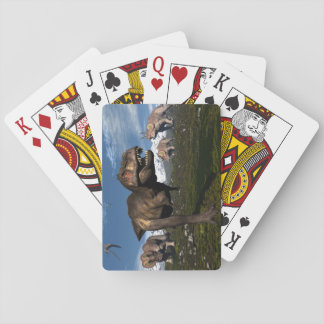 Tyrannosaurus rex attacked by triceratops dinosaur playing cards
