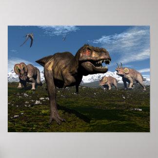Tyrannosaurus rex attacked by triceratops dinosaur poster