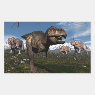 Tyrannosaurus rex attacked by triceratops dinosaur rectangular sticker