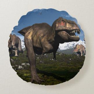 Tyrannosaurus rex attacked by triceratops dinosaur round cushion